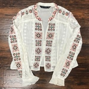 Zara Sheer White Boho Embroidered Blouse